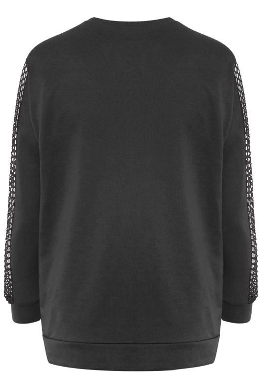 LIMITED COLLECTION Black Fishnet Sleeve Sweatshirt