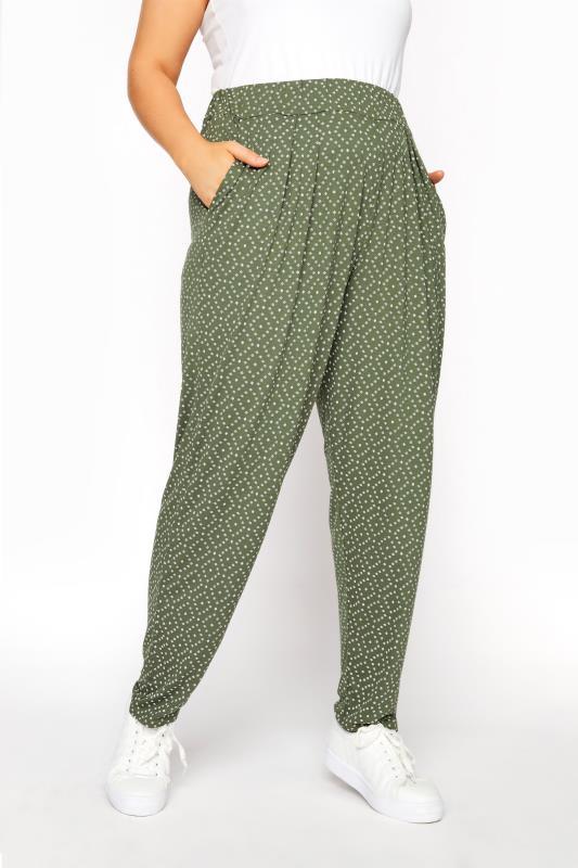 Plus Size  Khaki Diamond Print Harem Trousers