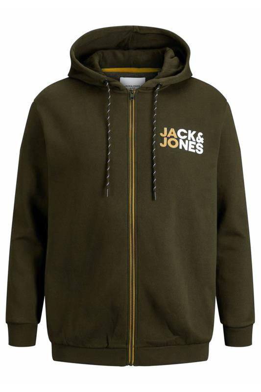 Plus Size Casual / Every Day JACK & JONES Khaki Logo Zip Through Hoodie