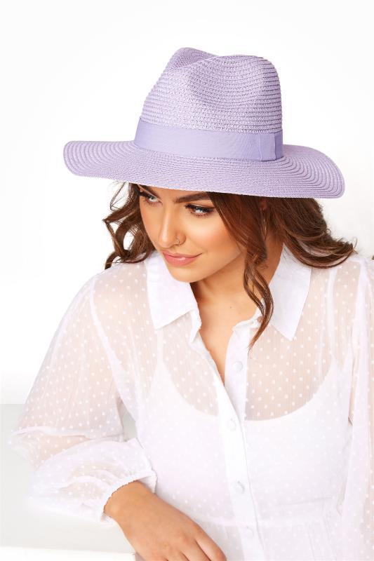 Plus Size  Lilac Straw Fedora Hat