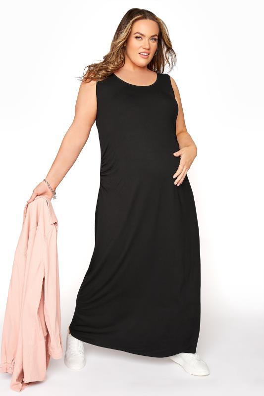 BUMP IT UP MATERNITY Black Sleeveless Maxi Dress_B.jpg