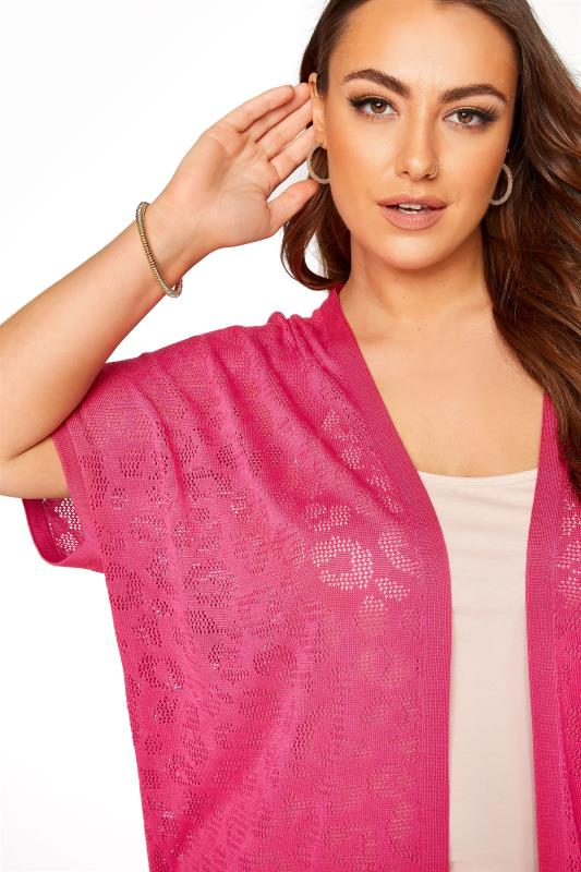 Pink Knitted Pointelle Leopard Print Cardigan_D.jpg