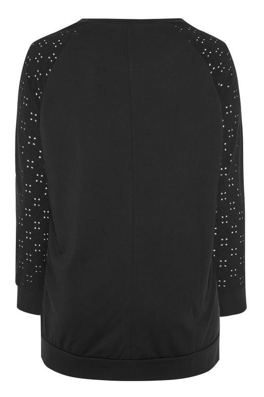 Black Broderie Anglaise Sleeve Sweatshirt
