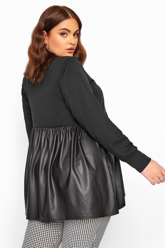 Black Leather Look Hem Peplum Sweatshirt