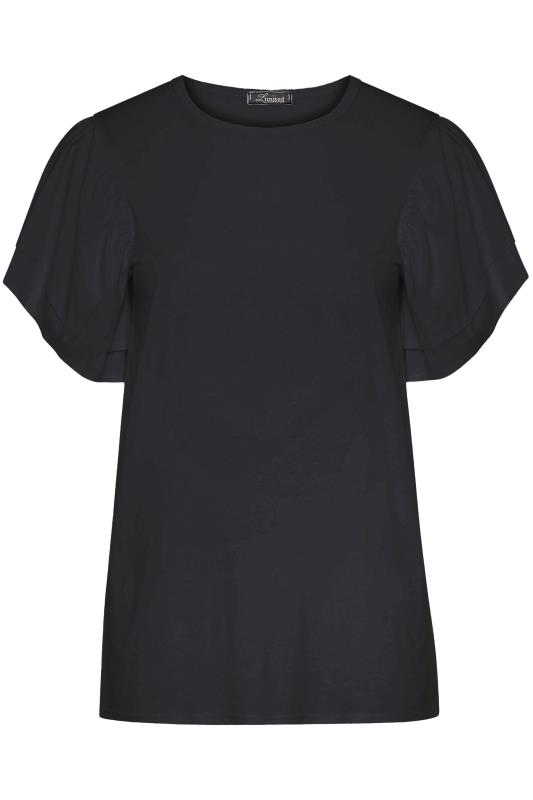LIMITED COLLECTION Black Poplin Angel Sleeve Top
