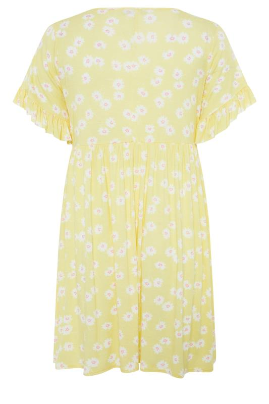 Lemon Yellow Floral Print Short Frill Sleeve Dress_bk.jpg