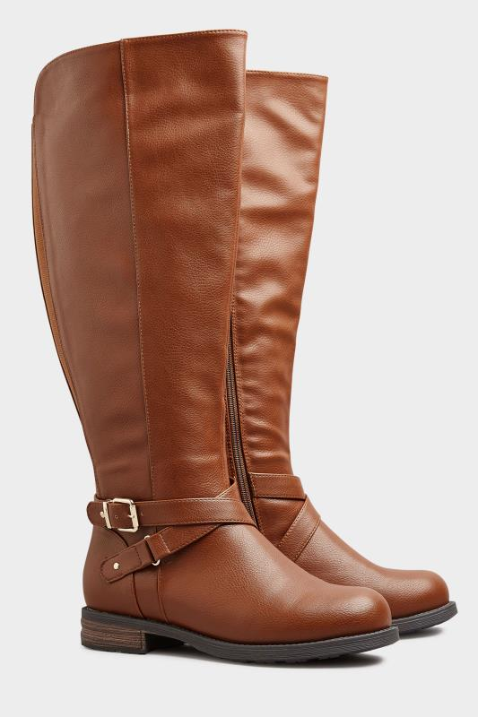 Brown Faux Leather Buckle Knee High Boots In Extra Wide Fit_B.jpg