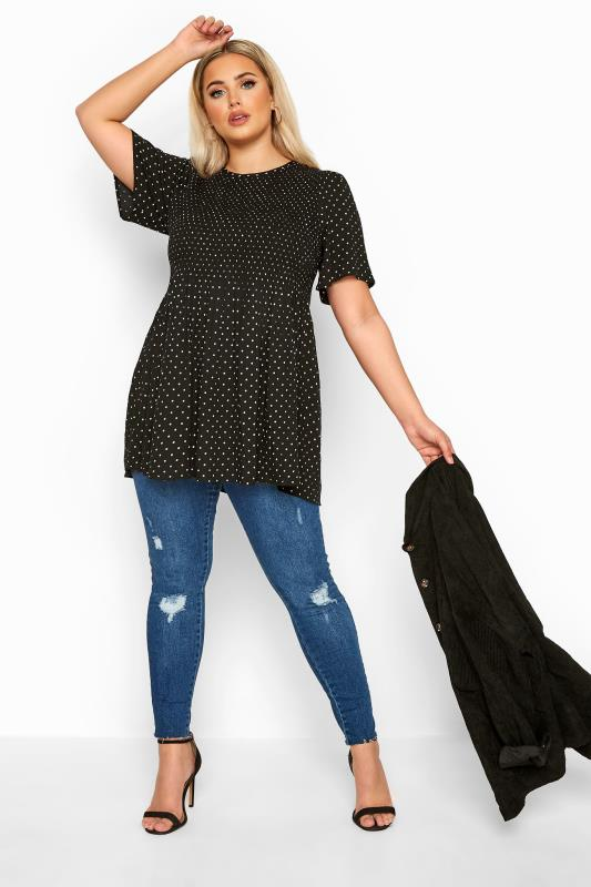 LIMITED COLLECTION Black Polka Dot Shirred Smock Top