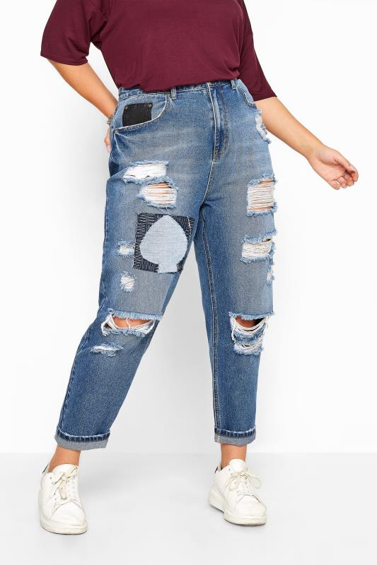Mid Blue Extreme Ripped Patch Mom Jeans