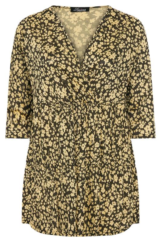 LIMITED COLLECTION Black & Yellow Ditsy Floral Wrap Tiered Smock Top