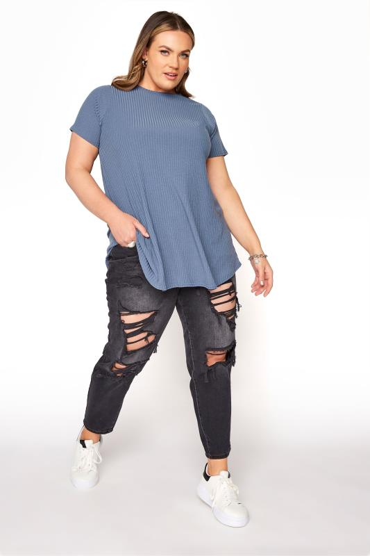 LIMITED COLLECTION Denim Blue Rib Swing Top