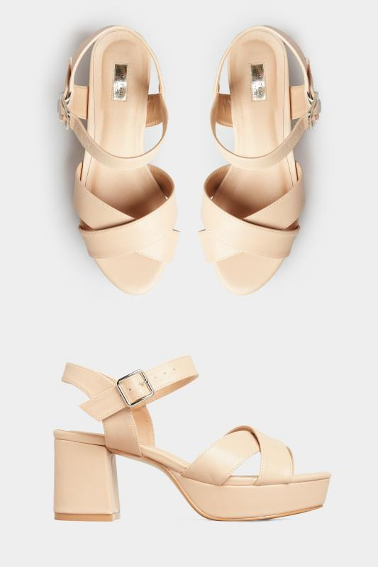 Yours LIMITED COLLECTION Nude Platform Heeled Sandals In Extra Wide Fit