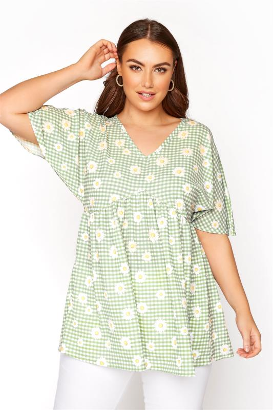 Plus Size  LIMITED COLLECTION Sage Green Gingham Floral Kimono Top