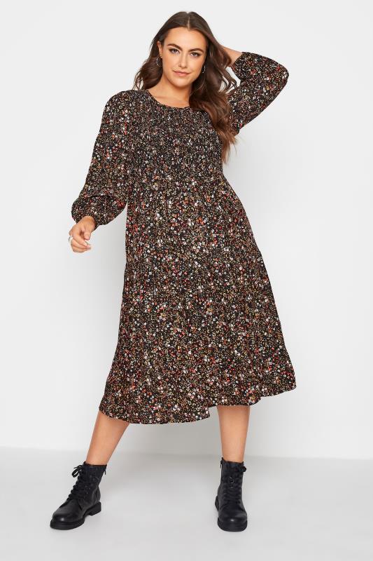 Plus Size  Black Floral Shirred Midaxi Dress