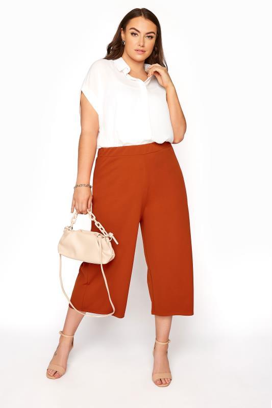 Plus Size  YOURS LONDON Rust Wide Leg Culottes