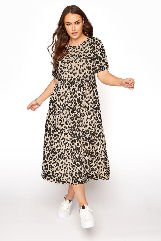 Natural Animal Print Puff Sleeve Midaxi Dress
