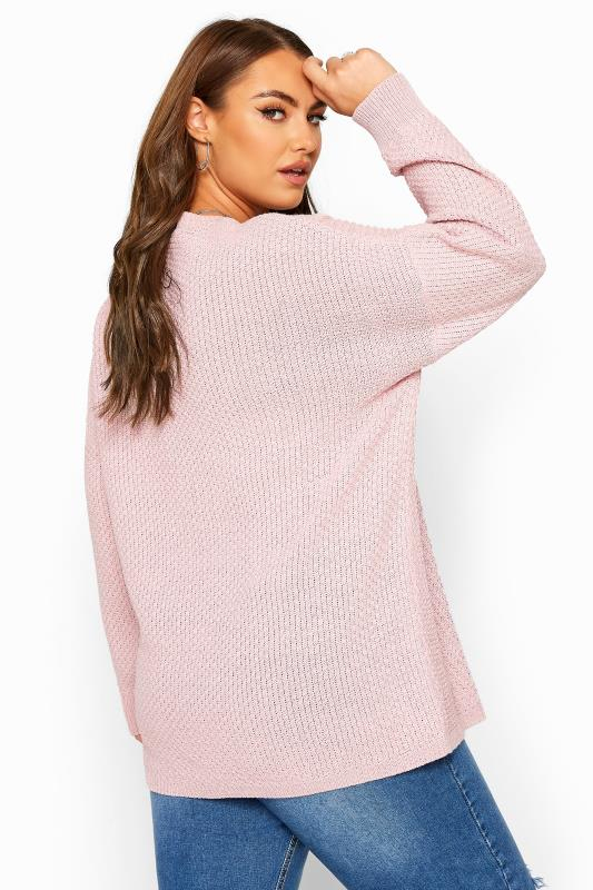 Pink Textured Chunky Knitted Jumper
