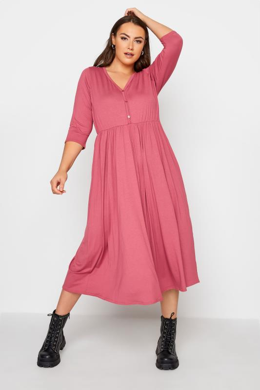 LIMITED COLLECTION Pink Button Midaxi Dress_A.jpg