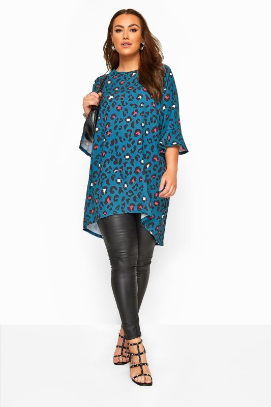 YOURS LONDON Teal Blue Animal Print Flute Sleeve Tunic