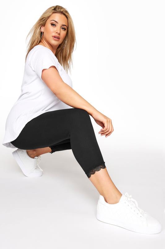 Plus Size Cropped & Short Leggings Black Cotton Essential Crop Legging With Lace Trim