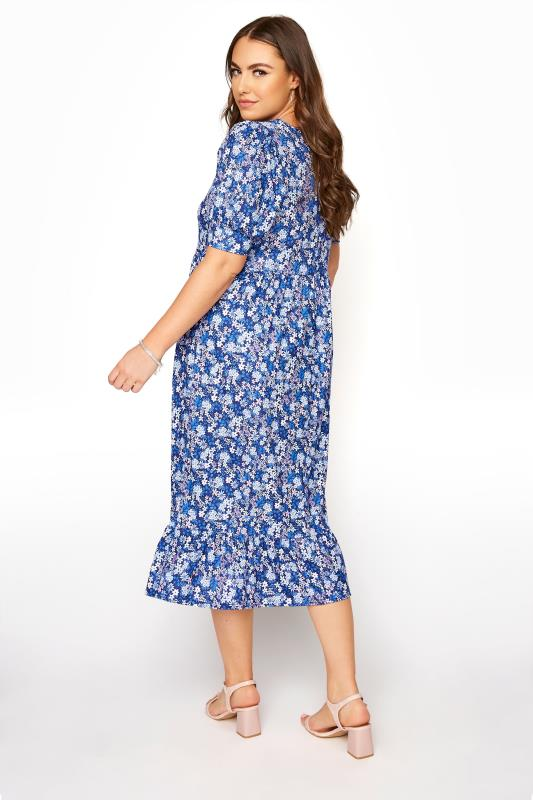 YOURS LONDON Blue Ditsy Tiered Dress_C.jpg