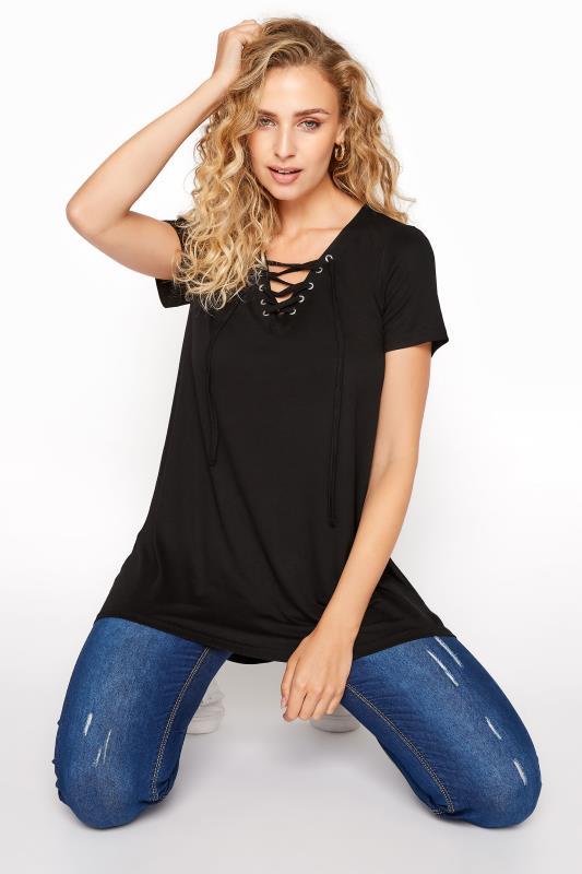LTS Black Lace Up V-Neck T-Shirt