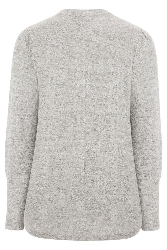 Grey Diamante Floral Soft Knitted Jumper