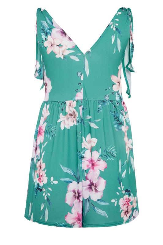 YOURS LONDON Green Floral Wrap Bow Top_BK.jpg