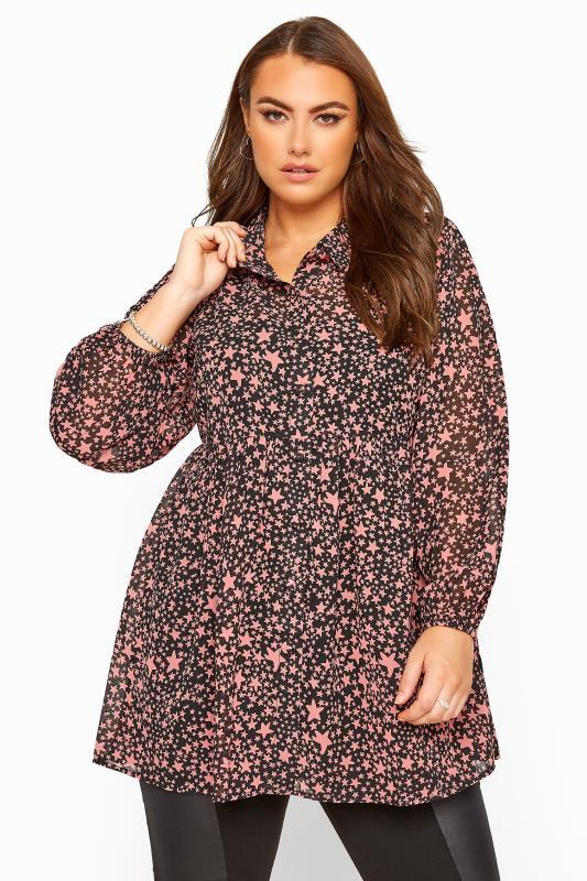 Plus Size Shirts Black & Pink Star Print Peplum Chiffon Shirt