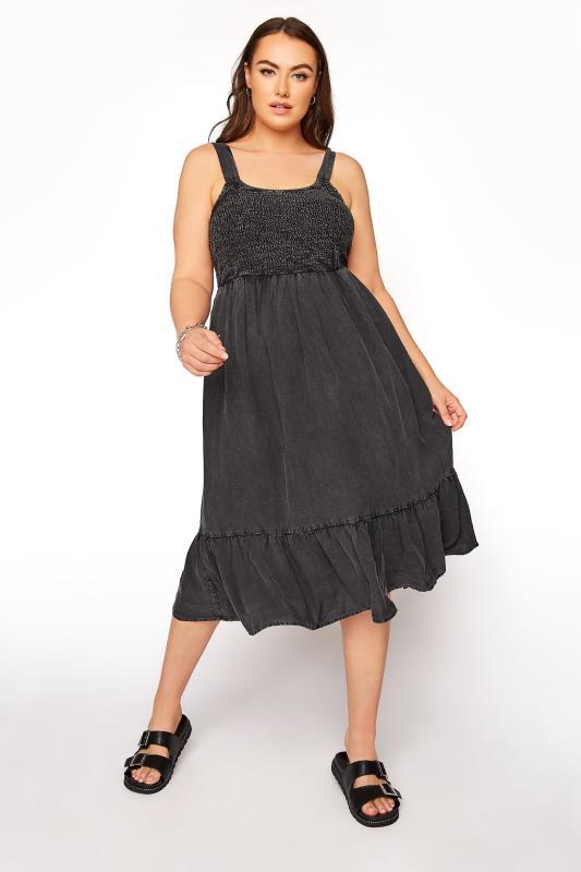 Black Acid Wash Shirred Dress