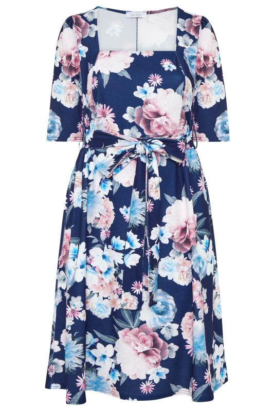 Plus Size  YOURS LONDON Navy Square Neck Floral Dress
