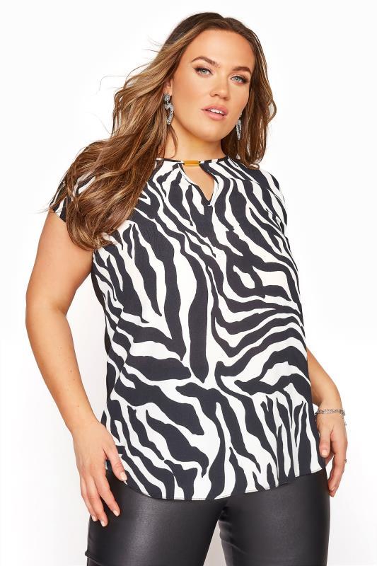 Black Zebra Print Cut Out Blouse