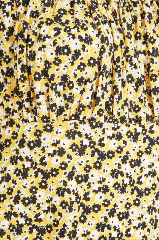 YOURS LONDON Yellow Ditsy Milkmaid Dress_S.jpg