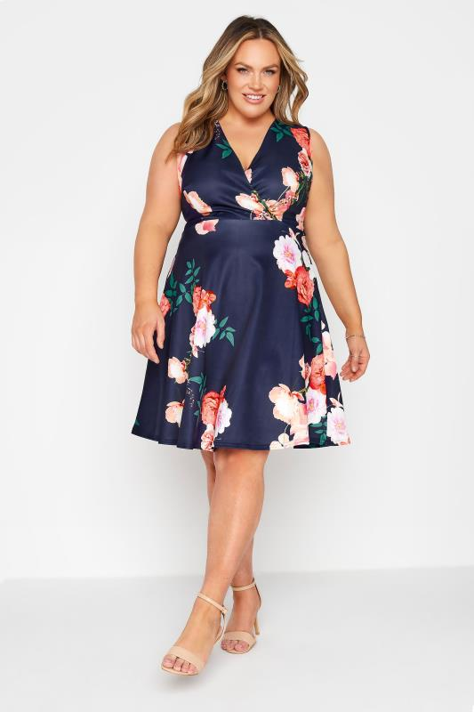Plus Size  Navy Floral Wrap Skater Midi Dress