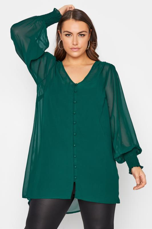Plus Size  YOURS LONDON Forest Green Balloon Sleeve Blouse