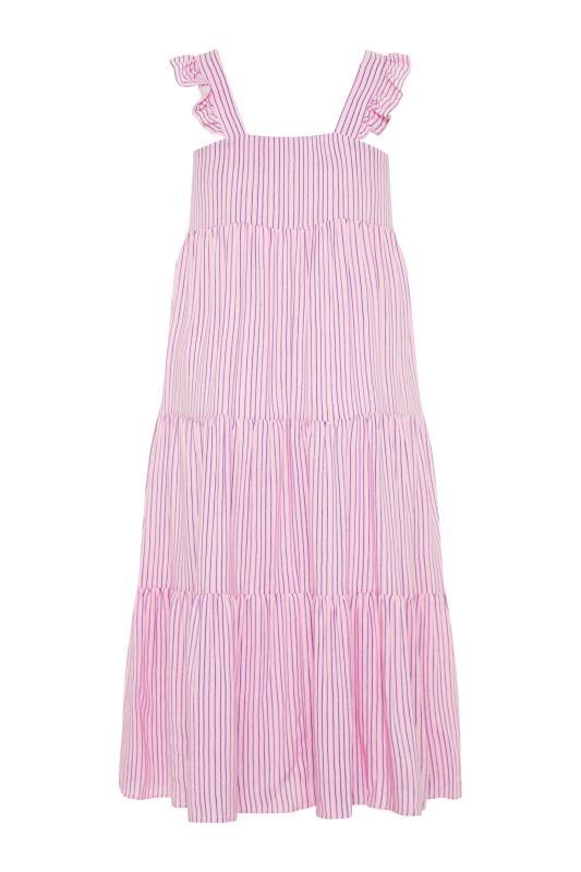 YOURS LONDON Pink Stripe Frill Tiered Midi Dress_BK.jpg