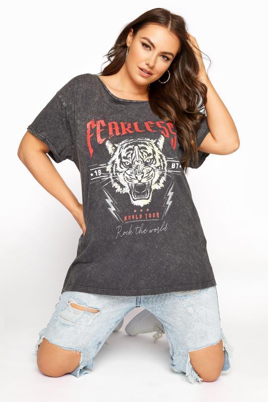 Plus Size  Black Acid Wash 'Fearless' Slogan Graphic T-shirt