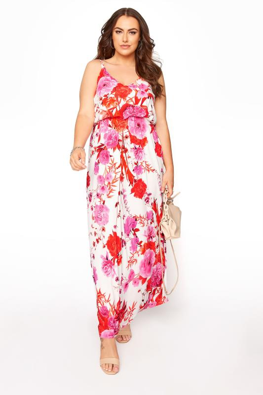 YOURS LONDON White Flame Floral Cami Maxi Dress_B.jpg