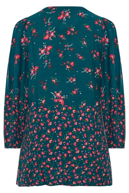 YOURS LONDON Green Floral Button Through Swing Blouse_BK.jpg