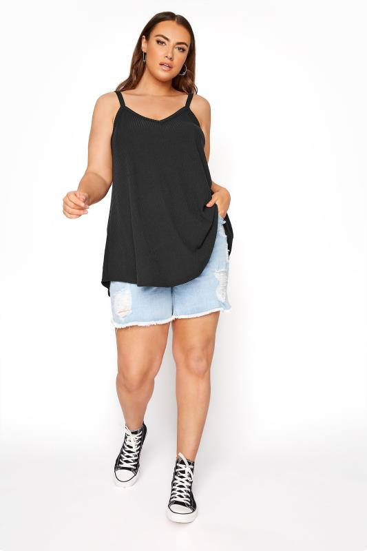 LIMITED COLLECTION Schwarzes geripptes Swing Cami Top