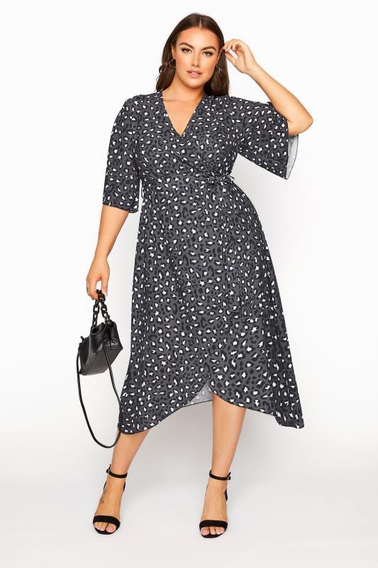Plus Size  YOURS LONDON Grey Leopard Midi Wrap Dress