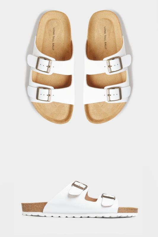 White Leather Two Buckle Footbed Sandals_split.jpg