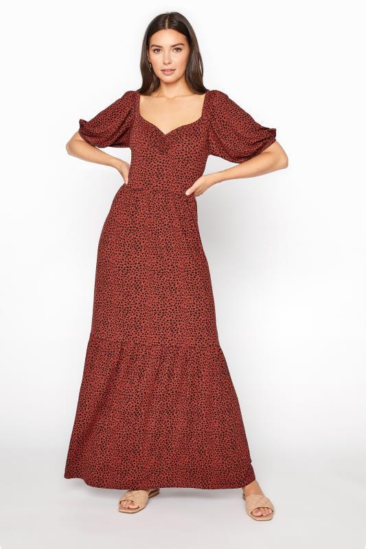 Tall  LTS Rust Red Polka Dot Tiered Midaxi Dress