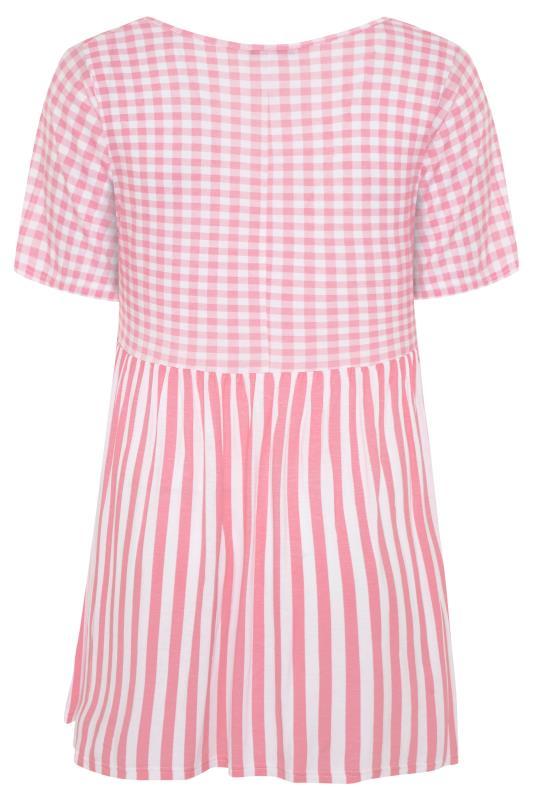 LIMITED COLLECTION Blush Pink Gingham Stripe Mix Top_BK.jpg