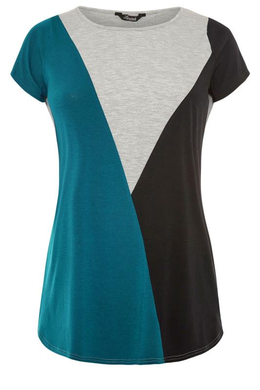 LIMITED COLLECTION Teal Colour Block T-Shirt_F.jpg