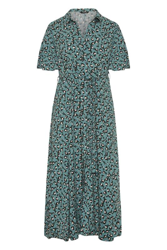 THE LIMITED EDIT Teal Leopard Print Shirt Maxi Dress_F.jpg