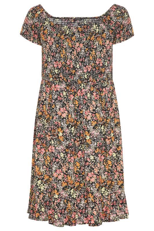 Black Ditsy Floral Shirred Bardot Dress_F.jpg