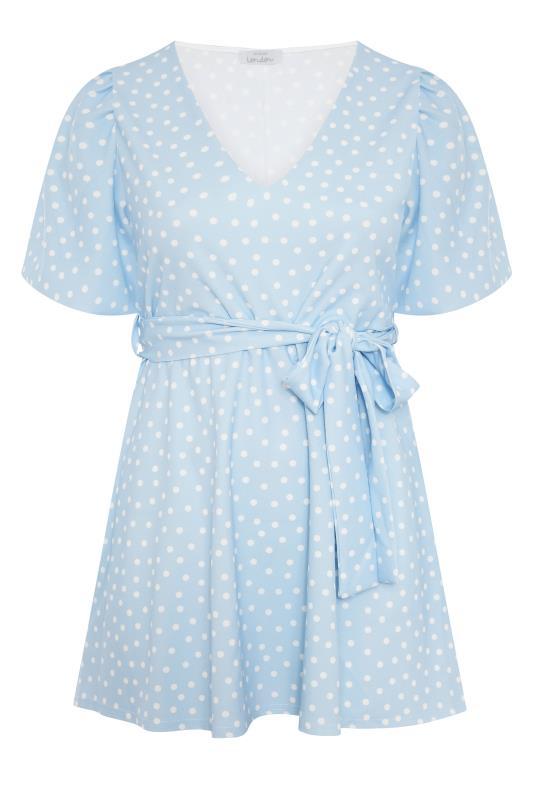 YOURS LONDON Blue Polka Dot Puff Sleeve Top_F.jpg