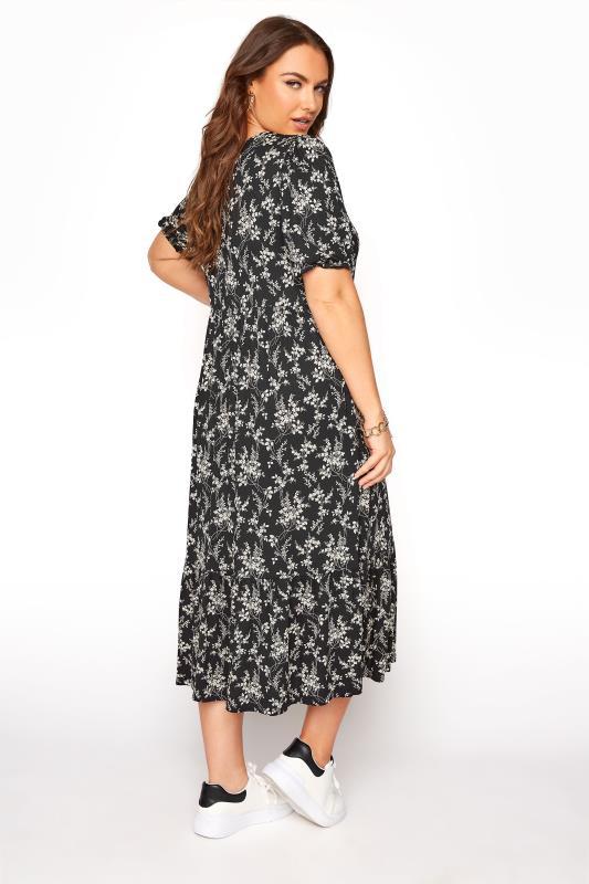 Black Floral Frill Hem Short Sleeve Dress_C.jpg