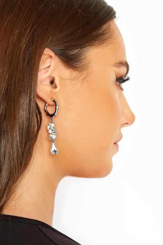 Plus Size  Silver Diamond Cluster Earrings